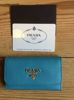 Prada Key Holder Turquoise Blue Brand New In Box & Certificate of Authenticity