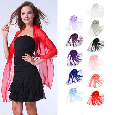 Chiffon Scarf Bridal Bridesmaid Wedding Party Ladies Soft Plain Shawl Stole Wrap