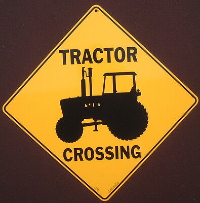 TRACTOR CROSSING SIGN aluminum  decor novelty picture home  signs farming farm