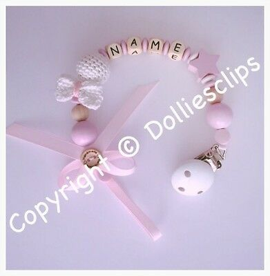 Personalised wooden dummy clip, with crochet bow, pink, baby girl