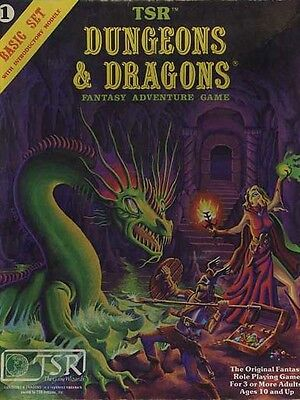 BASIC SET 1 DICE & POUCH EXC+! D&D Module Dungeons Dragons TSR Rules Box #1011