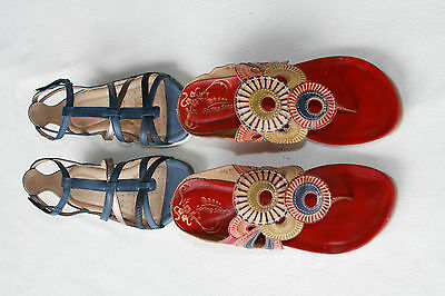 Lot of 2 ladies leather shoes, ECCO sandals and SPRING STEP heel, 9 EUC