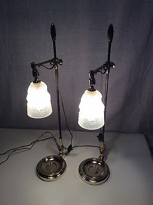 2 Schneider 1930 Signed Art Deco Bronze Table Lamp French Light Pair (Two)