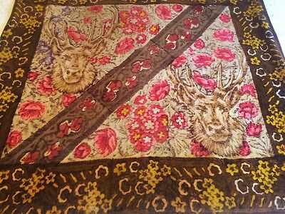 Antique Stroock Horse Hair Wool Lap Carriage Sleigh Blanket DEER Floral Pattern
