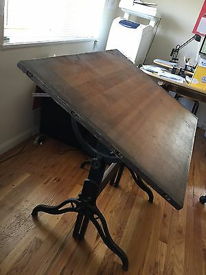 Antique Cast Iron and Wood HAMILTON Adjustable Drafting Table