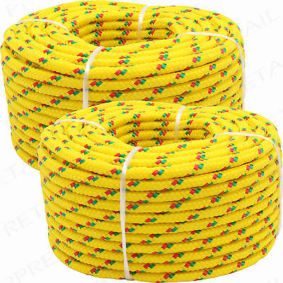 2 x 20 METRE YELLOW DIAMOND BRAIDED ROPE -HOLDS 150Kg- 4mm Thick Sailing Pulley
