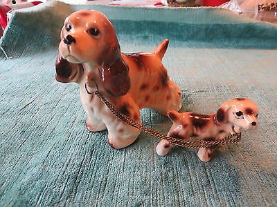 VINTAGE CERAMIC PORCELAIN COCKER SPANIAL DOG and puppy FIGURINE - NICE