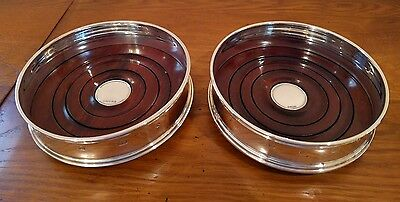 Matched Pair Of Solid Silver Wine Bottle Coasters Carrs Sheffield 1999 Boxed