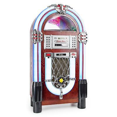 Auna Jukebox Stereo Lautsprecher Bluetooth Radio Platten Spieler Musik Box Led