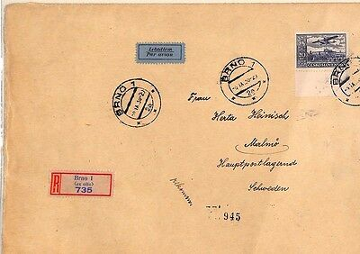 MS3690 1938 CZECHOSLOVAKIA *Brno* REGISTERED Airmail SWEDEN {samwells-covers}