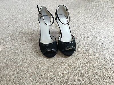 Ladies Black swede shoes with peep toe size 5