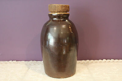 Antique Small Brown Glazed Jug With Wooden Lid Style Cork