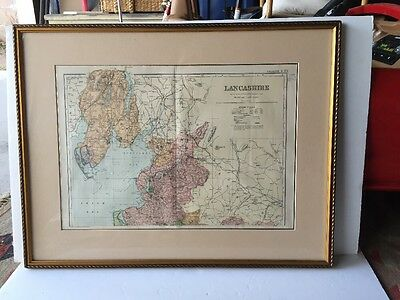Framed 1899 Victorian County Map Lancashire North Railway Population Stations