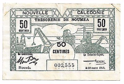 Noumea New Caledonia (Nouvelle Caledonie) 50 Centimes, 1943 Wartime Issue