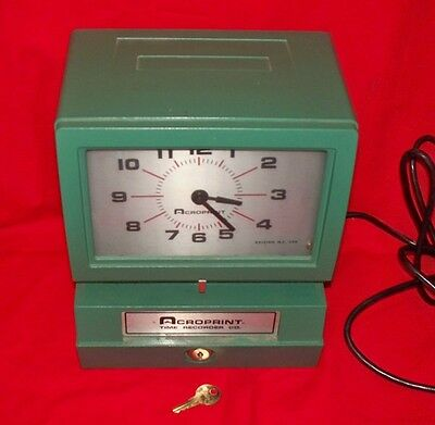 Acroprint Model 150NR4  Manual Heavy-Duty Time Clock with Key - Works!