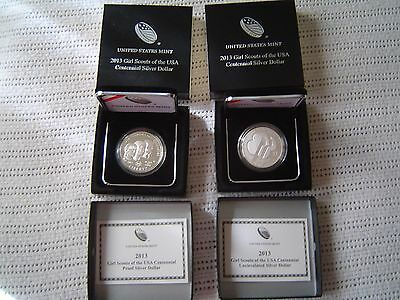 two  2013 girl scouts silver dollars one uncirculated and one proof  mint COA