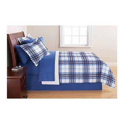 Mainstays Blue Plaid Bed in a Bag Complete Bedding Set | Size: Full