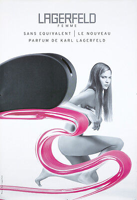 Original Vintage Poster Karl Lagerfeld French Femme Perfume Nude 2000
