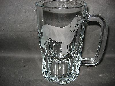 New Etched Irish Water Dog Spaniel Glass Root Beer Mug