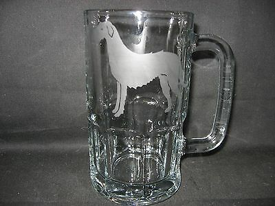 New Etched Irish Wolfhound Glass Root Beer Mug