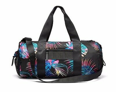 Victoria's Secret Pink Duffle Bungee pocket Gym Bag Midnight Tropical NWT