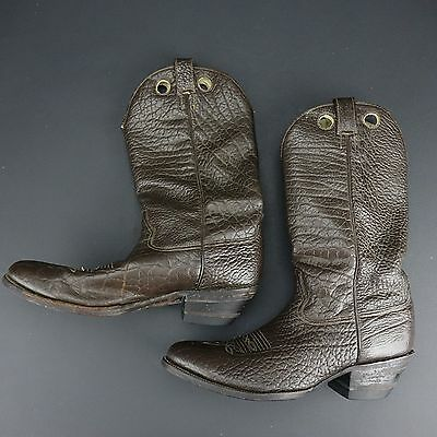 Mens Brown Leather Black Cowboy Boots By Morgan & Miller Size 11.5 D