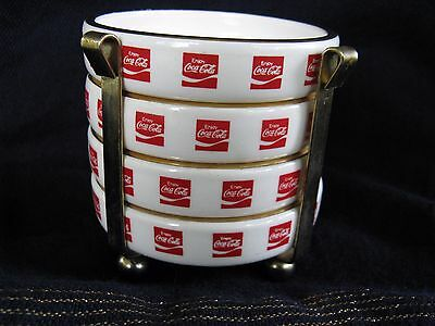 Vintage 4 Coca Cola Ceramic Coasters with Caddy