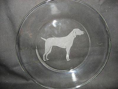 """New Etched Weimaraner 10"""" Glass Plate"""