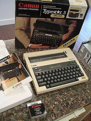 Canon Typestar 5 Deluxe Electronic Typewriter, Beige with Box & Manual