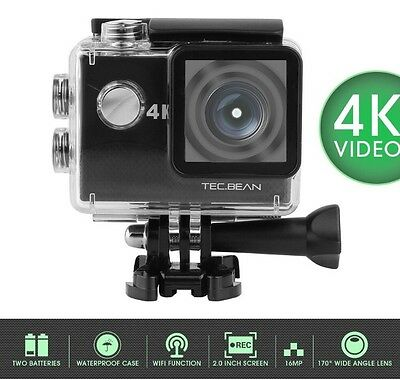 4K Wifi Sports Camera Ultra HD Waterproof FHD LCD Camcorder 12MP 170 Wide Lens