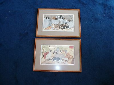 Two framed prints of cats by Linda Jane Smith - signed in pencil by the artist