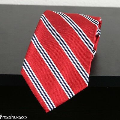 BROOKS BROTHERS Red Silver Blue Striped Woven Silk Mens Necktie Tie