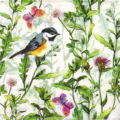 4x Paper Napkins for Decoupage Decopatch Craft Bird in the Grass