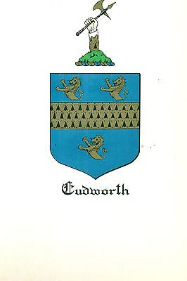 *Great Coat of Arms Cudworth Family Crest genealogy, would look great framed!