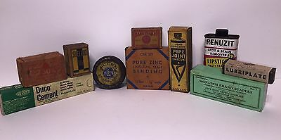 Vintage Lot Of Hardware Advertising Pieces Antique Material Boxes Tins