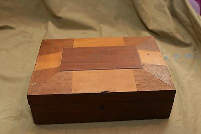 Antique Wood Decorative Arts Primitive Jewelry Storage Box Inlaid Marquetry Lid