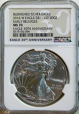 2016 W Burnished American Silver Eagle Unc. Coin NGC MS70 Early Releases In Hand