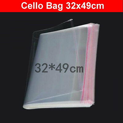 200pcs 32x49cm Large Cellophane Cello Plastic Clothes Craft Bags Self Adhesive