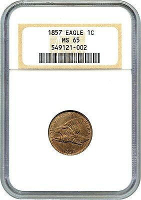 1857 Flying Eagle 1c NGC MS65 - Popular First Year Type Coin - Flying Eagle Cent