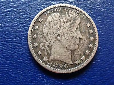 United States 25 Cent 1896 S Silver Quarter Dollar Low Mintageoriginal Coin