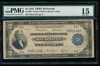 AC Fr 760 1918 $2 Richmond FRBN BATTLESHIP PMG 15