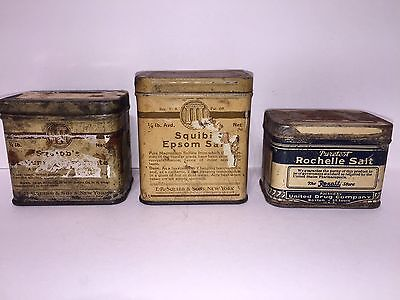 Lot Of 3 Vintage Epsom Salt Tins Antique Advertising Cans Containers