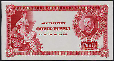"Test Note ORELL FÜSSLI Switzerland - portrait FROSCHAUER ""100"" Specimen - red"
