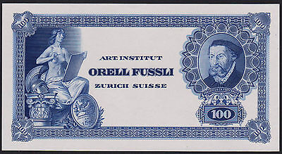 "Test Note ORELL FÜSSLI Switzerland - portrait FROSCHAUER ""100"" Specimen - blue"