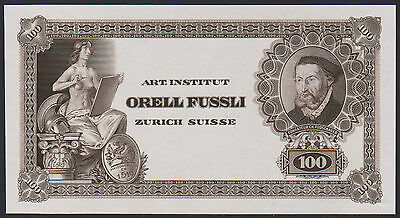 "Test Note ORELL FÜSSLI Switzerland - portrait FROSCHAUER ""100"" Specimen - brown"