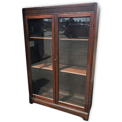Gentil Antique Mahogany Empire Glass Front Bookcase Curio Cabinet