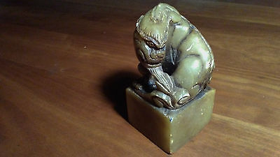 a4 old shoushan jade stone signed hand carved seal stamp statue dragon pixiu