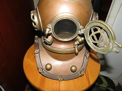 Vintage Diving Divers Helmet U.s Navy Mark V Solid Brass 10 Inch