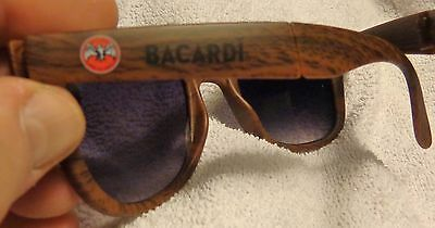 Bacardi Rum Sunglasses - Wayfarer Style - Fold Up with Pouch - Woodgrain.....NEW