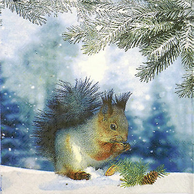 4x Paper Napkins for Decoupage Decopatch Craft Pine Squirrel